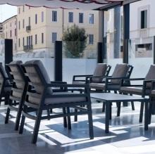 Židle Aria antracit acrilic grigio, Stolík Aria 100 antracit